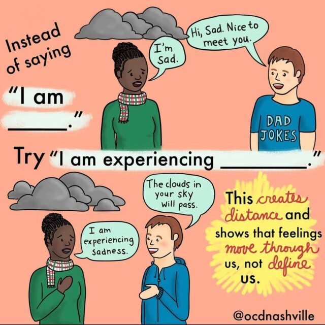 Thank you to @ocdnashville for this comic! Try this out next time you are feeling strong emotions. Did it change your experience?