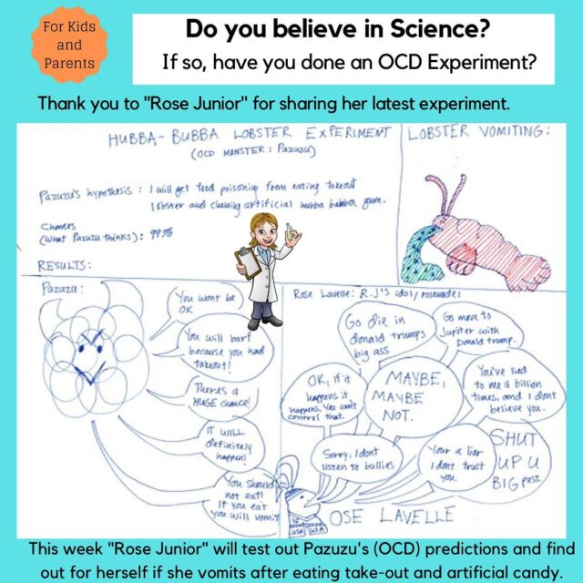 "Thank you to ""Rose Junior"" for sharing her OCD experiment with us this week. Here is a great post to share with kids and teens. #ocd #obsessivecompulsivedisorder #ocdhelp #ocdawareness #ocdrecovery #realocd #mentalhealthawareness #therapistsofinstagram #cbt #cognitivebehavioraltherapy #stigma #intrusivethoughts #erp #ocdawareness #exposuretherapy  #ocdlife  #cbttherapist #mentalhealthadvocate #ocdtreatment #ocdrelief #ocdsupport #ocdinformation #exposureresponseprevention #ocdadvocate #ocdrawing"